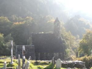 Glendalough church with light